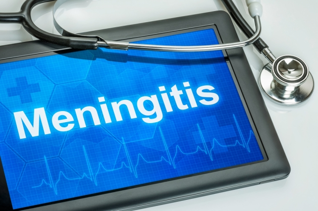Tablet with the diagnosis Meningitis on the display